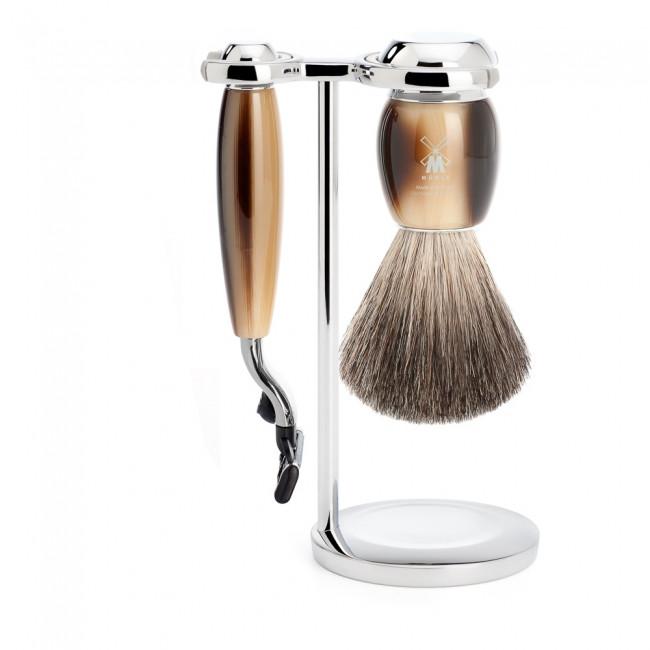Mühle barbersæt med Mach3 Skraber, Barberkost og Holder, Vivo, Brunt horn