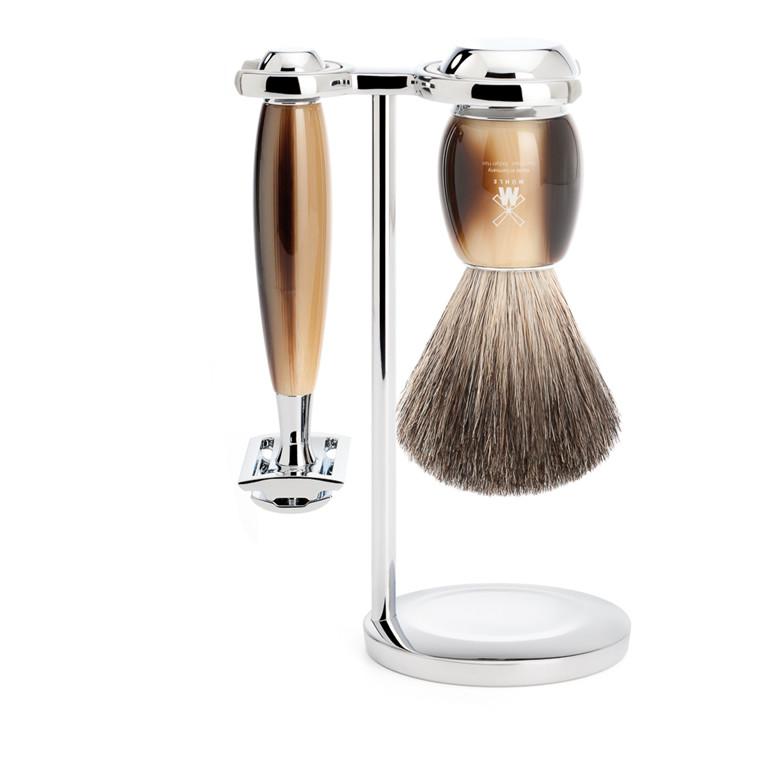 Mühle barbersæt med DE-skraber, Barberkost og Holder, Vivo, Brunt Horn