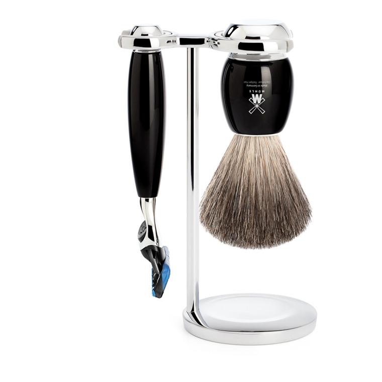 Mühle barbersæt med Skraber, Barberkost og Holder, Vivo, Sort Kunstharpiks