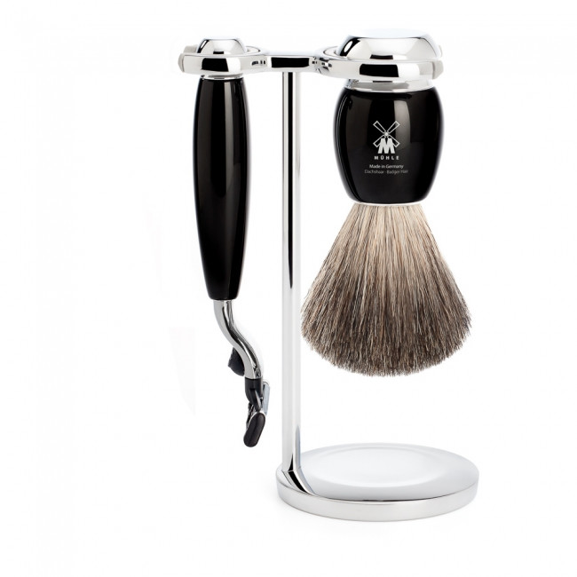 Mühle barbersæt med Mach3 Skraber, Barberkost og Holder, Vivo, Sort Kunstharpiks