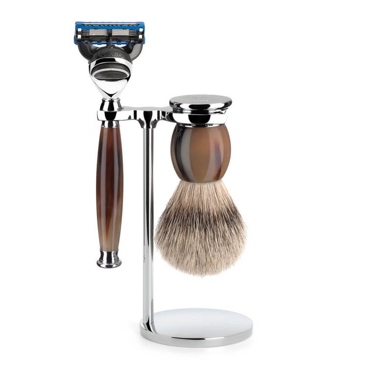 Mühle Barbersæt med Skraber, Silvertip Barberkost og Holder, Sophist, Genuine horn