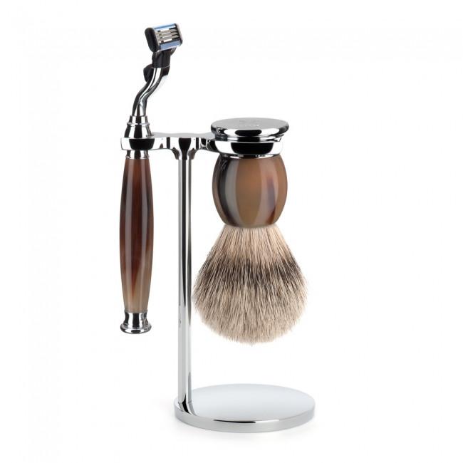 Mühle Barbersæt med Mach3 Skraber, Barberkost og Holder, Sophist, Genuine horn