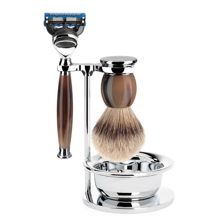 Mühle Barbersæt med Skraber, Silvertip Barberkost, Holder og Skål, Sophist, Genuine Horn