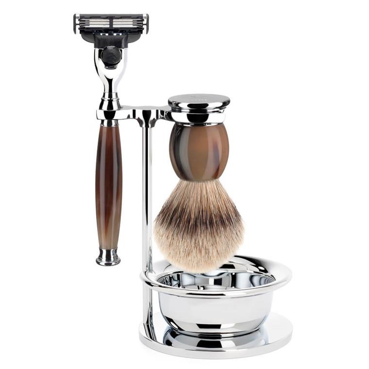 Mühle Barbersæt med Mach3 Skraber, Barberkost, Holder og Skål, Sophist, Genuine horn