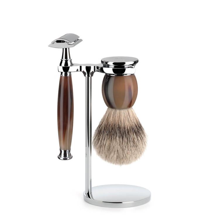 Mühle Barbersæt med DE-skraber, Barberkost og Holder, Sophist, Genuine Horn