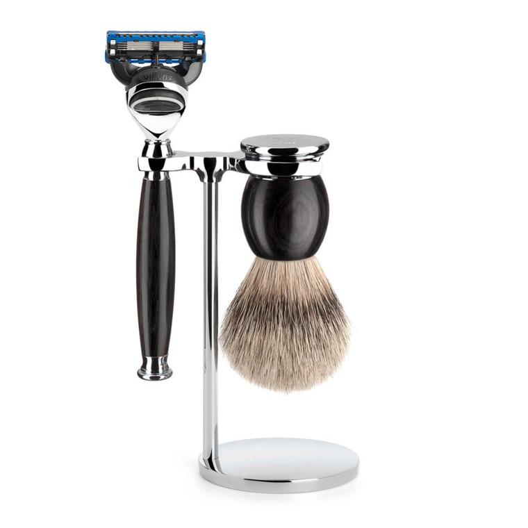 Mühle Barbersæt med Skraber, Silvertip Barberkost og Holder, Sophist, African Blackwood