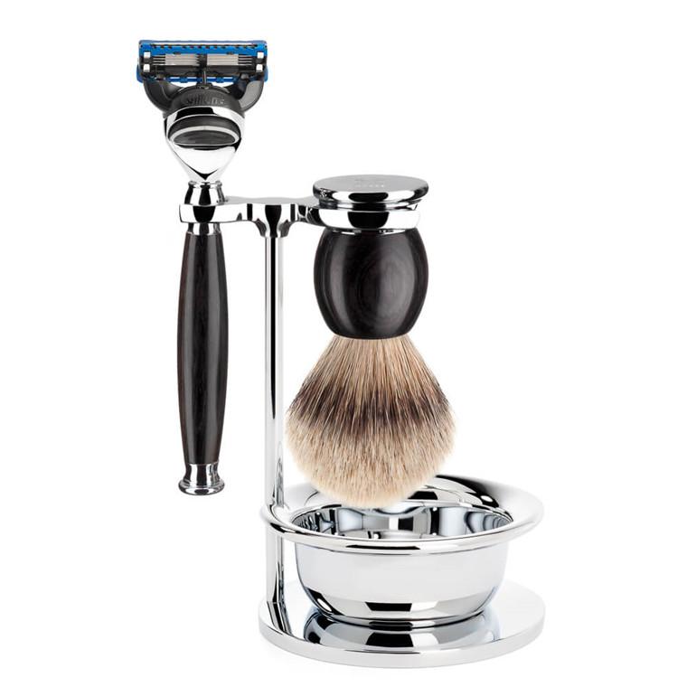 Mühle Barbersæt med Skraber, Silvertip Barberkost, Holder og Skål, Sophist, African Blackwood