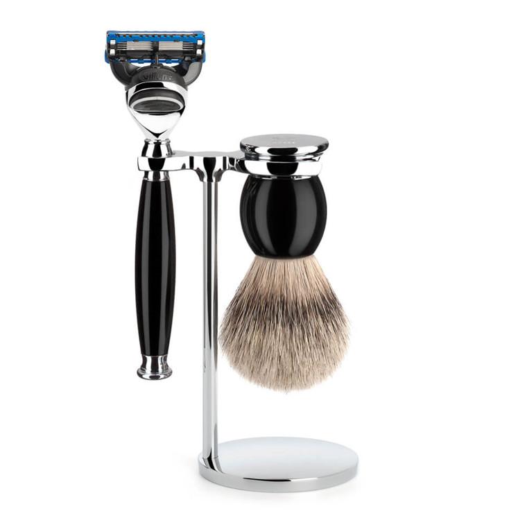 Mühle Barbersæt med Skraber, Silvertip Barberkost og Holder, Sophist, Sort Kunstharpiks