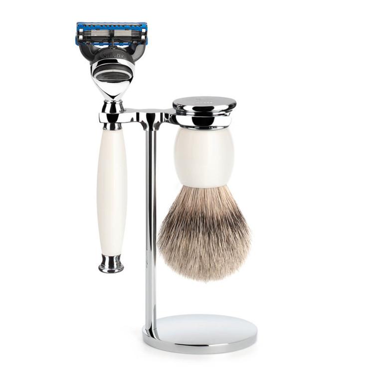 Mühle Barbersæt med Skraber, Silvertip Barberkost og Holder, Sophist, Porcelæn