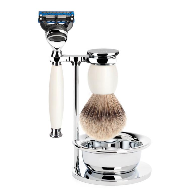 Mühle Barbersæt med Skraber, Silvertip Barberkost, Holder og Skål, Sophist, Porcelæn