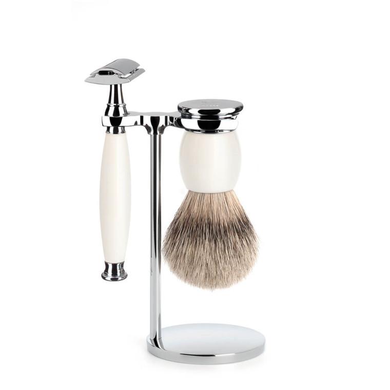 Mühle Barbersæt med DE-skraber, Barberkost og Holder, Sophist, Porcelæn