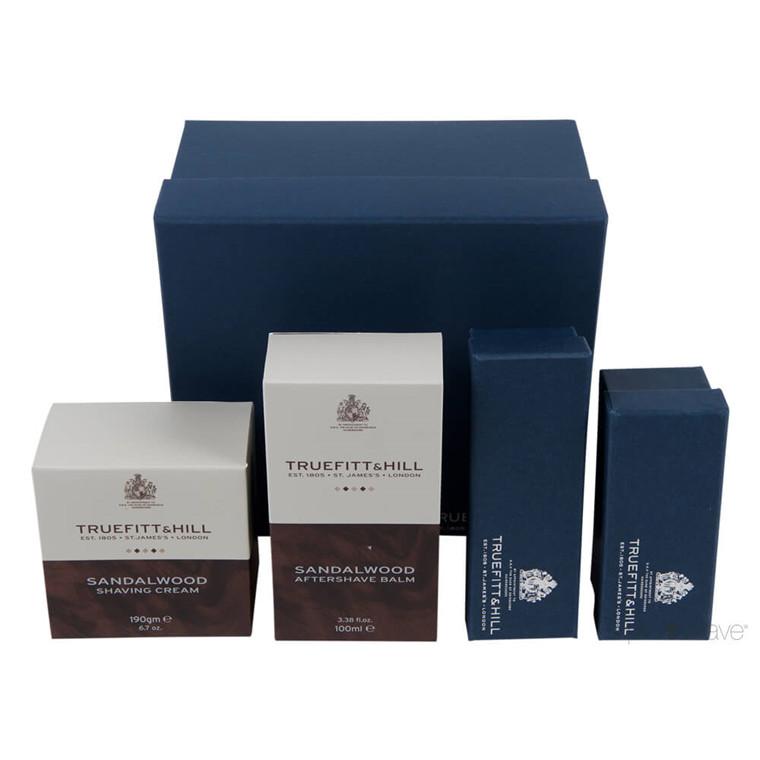 Truefitt & Hill Luxury Edition Sandalwood: Skål, Balm, Skraber, Børste