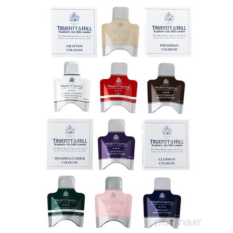 Truefitt & Hill Sample Pack, Barbercreme, Aftershave Balm & Cologne