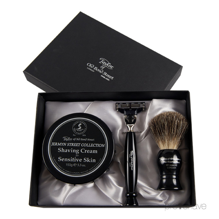 Taylor Of Old Bond Street Gaveæske med Skraber, Barberkost og Barbercreme, Jermyn St Collection
