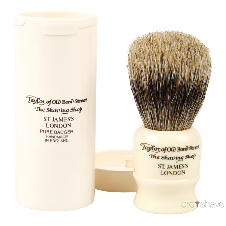 Taylor Of Old Bond Street Rejsebørste i rør, Pure Badger, Ivory