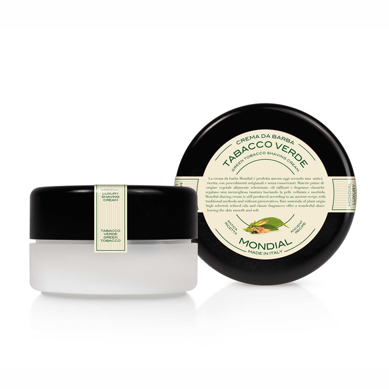 Mondial Shaving Barbercreme i plasticskål, Green Tobacco, 150 ml.