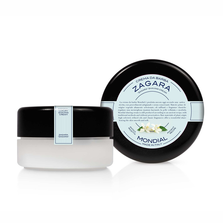 Mondial Shaving Barbercreme i plasticskål, Zagara, 150 ml.