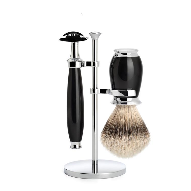 Mühle Barbersæt med DE-skraber, Silvertip Barberkost og Holder, Purist, Sort Kunstharpiks