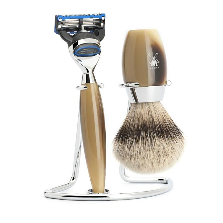 Mühle barbersæt med Skraber, Barberkost og Holder, Kosmo, Brunt Horn