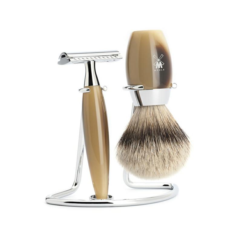 Mühle barbersæt med DE-skraber, Silvertip Barberkost og Holder, Kosmo, Brunt Horn