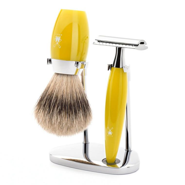 Mühle barbersæt med DE-skraber, Silvertip Barberkost og Holder, Kosmo, Citrus Kunstharpiks