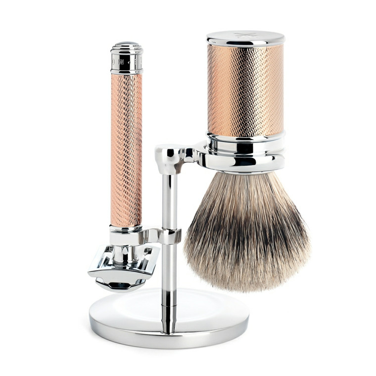 Mühle Barbersæt med DE-skraber, Barberkost og holder, Traditional, Rosegold