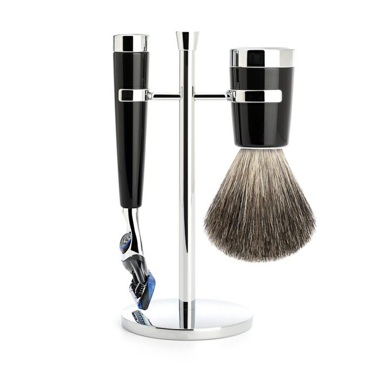 Mühle barbersæt med Skraber, Barberkost og Holder, Liscio, Sort Kunstharpiks
