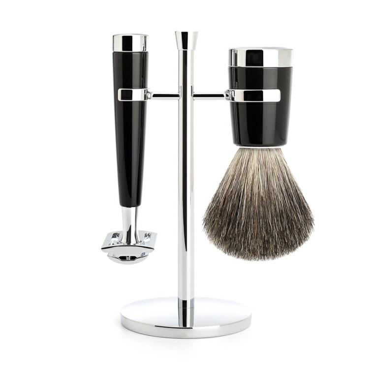Mühle barbersæt med DE-skraber, Barberkost og Holder, Liscio, Sort Kunstharpiks