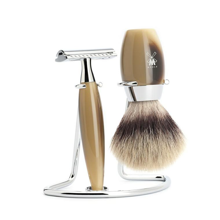 Mühle barbersæt med DE-skraber, Barberkost og Holder, Kosmo, Brunt Horn