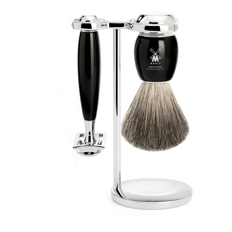 Mühle barbersæt med DE-skraber, Barberkost og Holder, Vivo, Sort Kunstharpiks