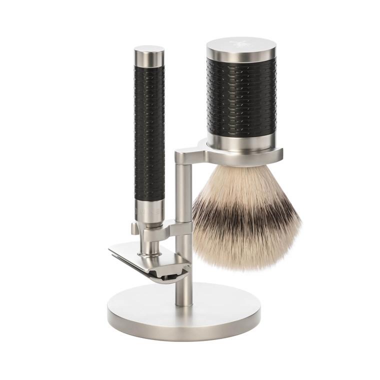 Mühle Barbersæt med DE-skraber, Fiber Barberkost og Holder, Rocca, Rustfrit stål