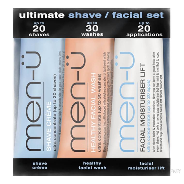 men-ü Ultimate Shave / Facial Set, 3 x 15 ml.