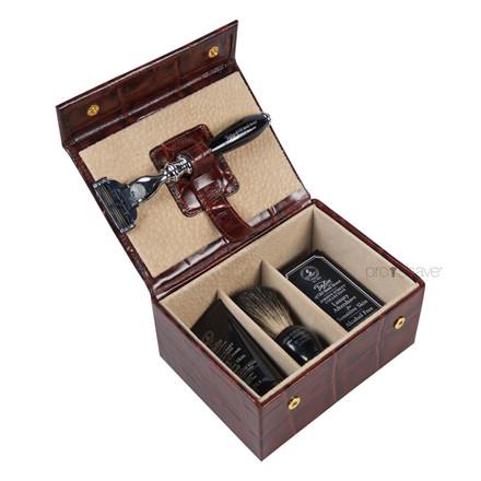 Taylor Of Old Bond Street Luksus Grooming kit, Brunt læder