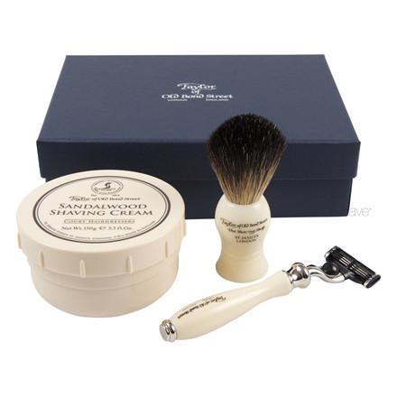 Taylor Of Old Bond Street Gaveæske med Skraber, Barberkost og Barbercreme, Victorian, Sandeltræ