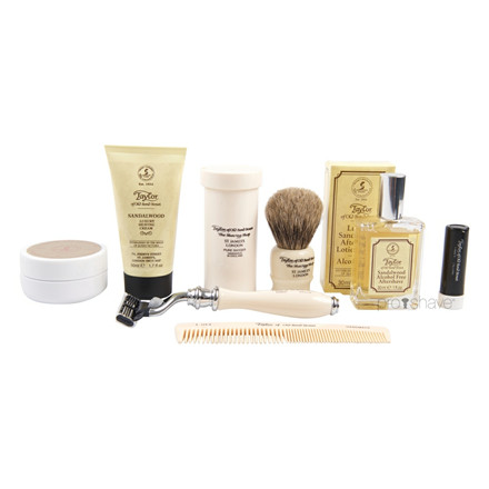 Taylor Of Old Bond Street Luksus Grooming kit, Sort skind m. ruskindsfor