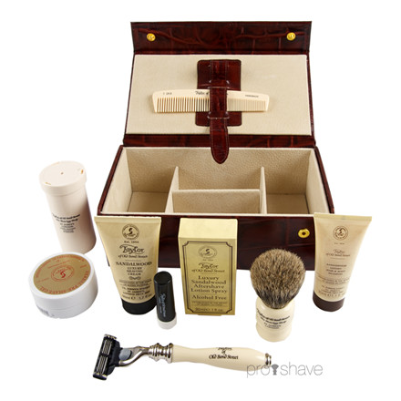 Taylor Of Old Bond Street Luksus Grooming kit, Brunt skind m. ruskindsfor