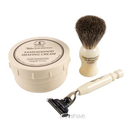 Taylor Of Old Bond Street Gaveæske med Skraber, Barberkost og Barbercreme, No. 74, Sandeltræ