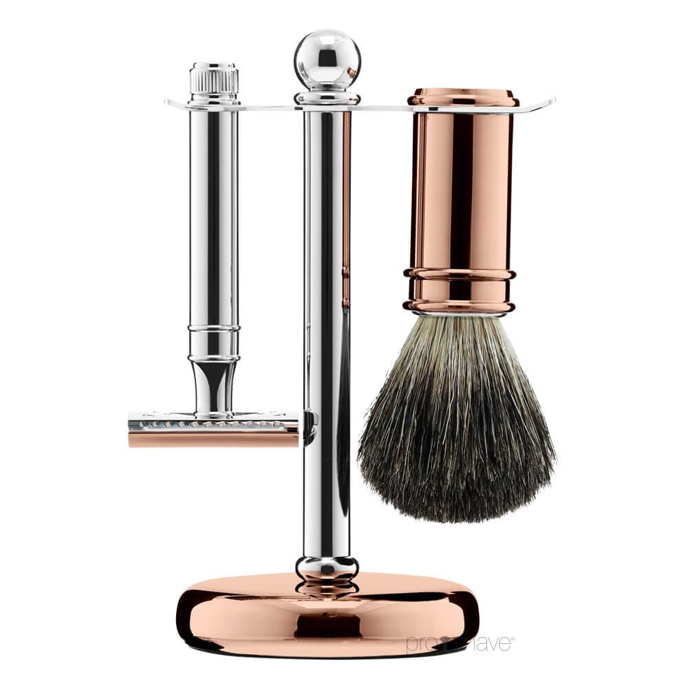 Image of   Floris Barbersæt med Skraber, Barberkost og Holder, Chrome & Rose Gold