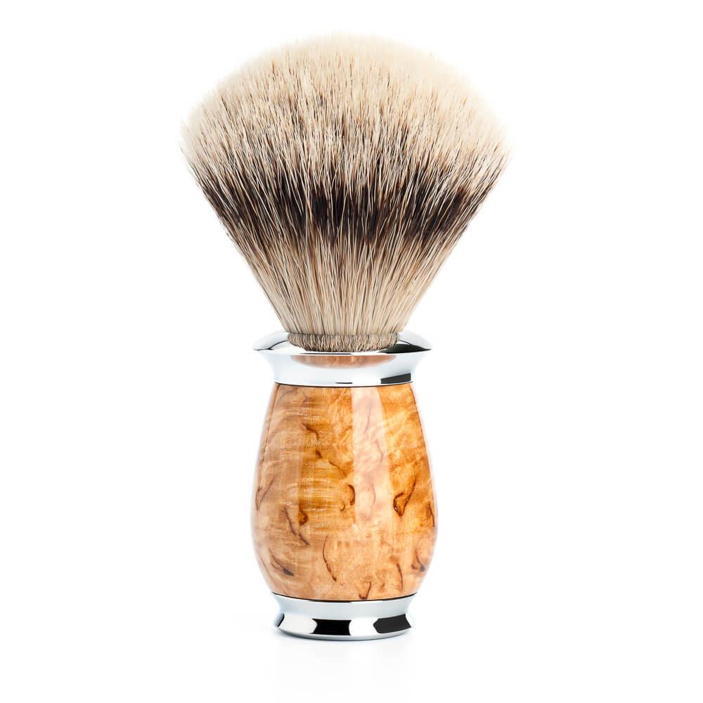 Image of   Mühle Silvertip Barberkost, 21 mm, Purist, Karelian burl birk