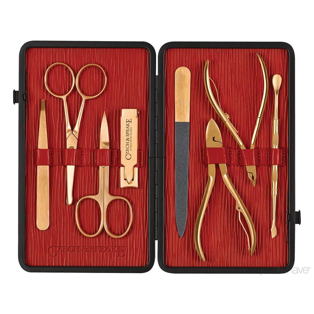 Image of   Czech & Speake Manicuresæt, 8 guld instrumenter, Sort/rød