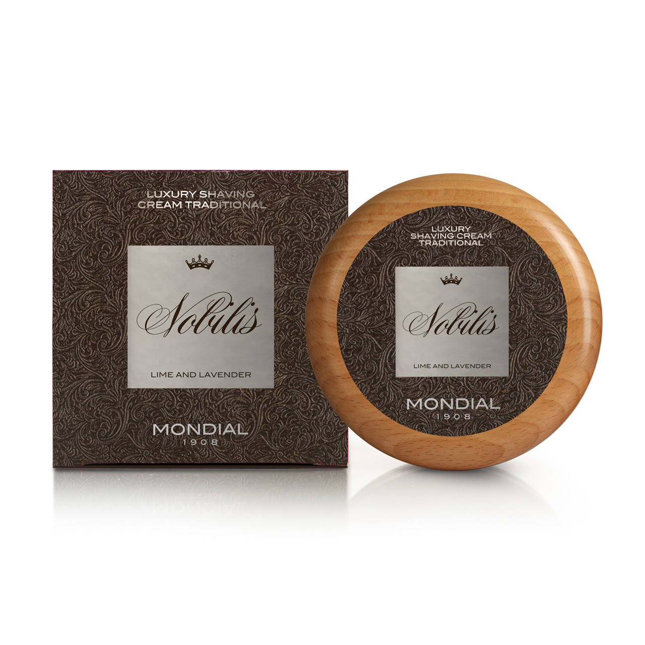Image of   Mondial Nobilis Luksus Barbercreme i træskål, 140 ml.