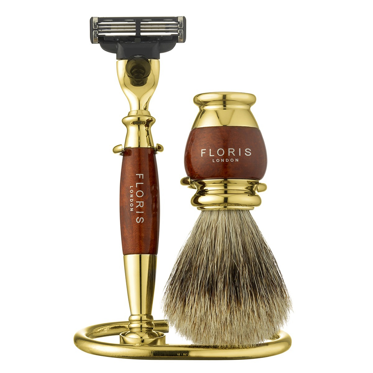 Image of   Floris Barbersæt med skraber, barberkost og holder, Guldbelagt Briar Træ