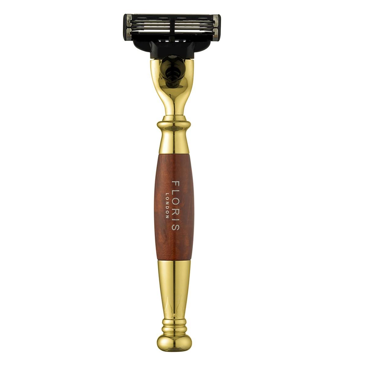 Image of   Floris Barberskraber til Gillette Mach3, Guldbelagt Briar Træ