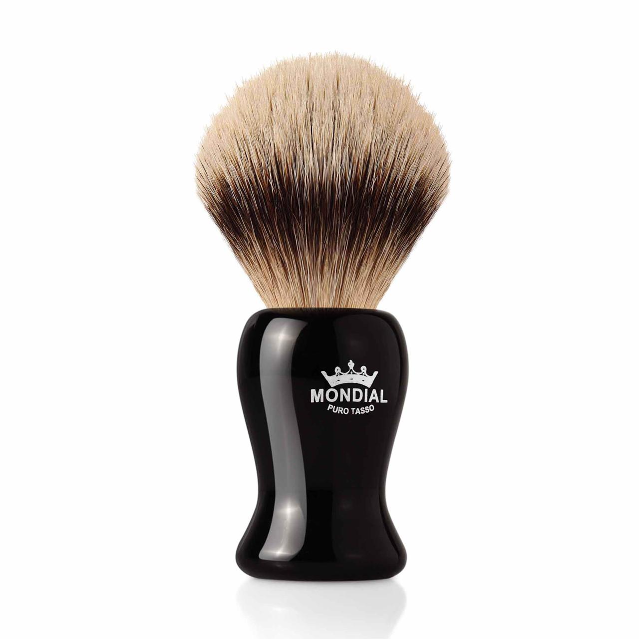 Image of   Mondial Silvertip Badger Barberkost, Gibson, Sort Kunstharpiks