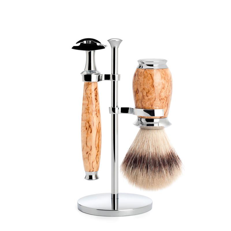 Image of   Mühle Barbersæt med DE-skraber, Barberkost og holder, Purist, Karelian burl birk