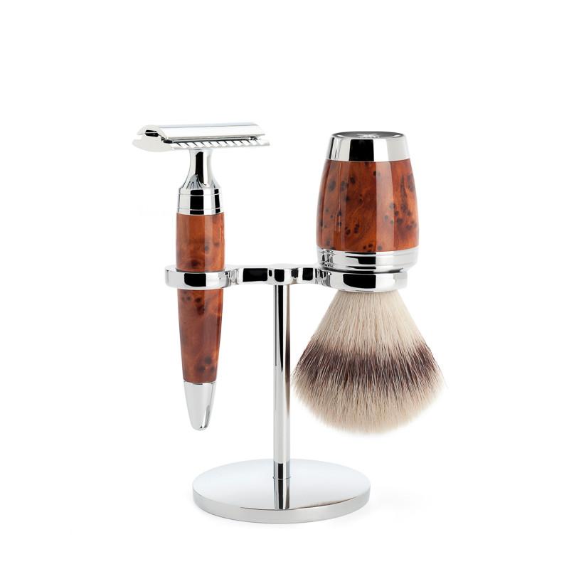 Image of   Mühle Barbersæt med DE-skraber, Barberkost og Holder, Stylo, Thuja Wood
