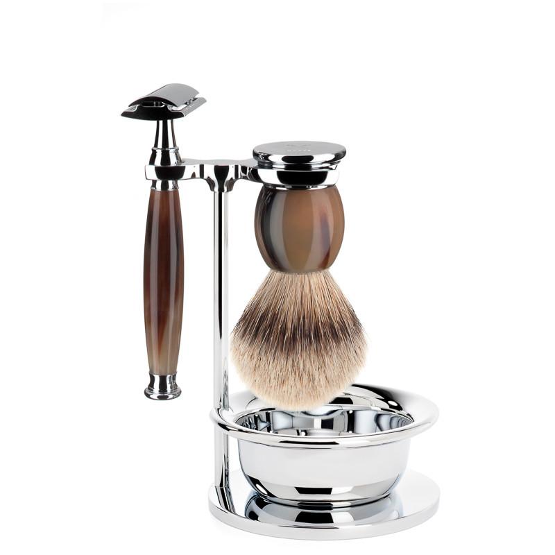 Image of   Mühle Barbersæt med DE-skraber, Silvertip Barberkost, holder og skål, Sophist, Genuine Horn
