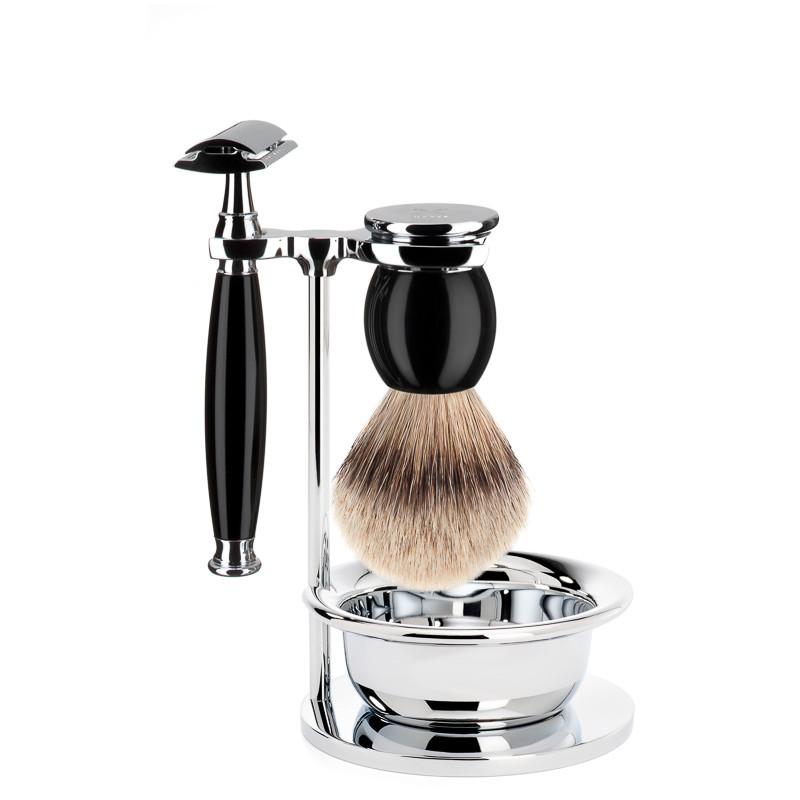 Image of   Mühle Barbersæt med DE-skraber, Silvertip Barberkost, holder og skål, Sophist, Sort Kunstharpiks