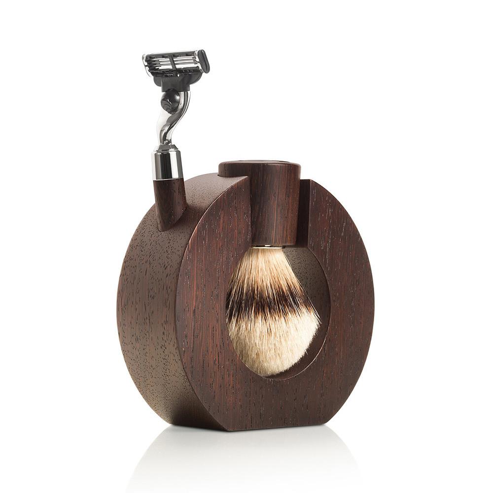 Image of   Mondial Barbersæt med Barberkost, Skraber og Holder, Afrikansk wenge træ