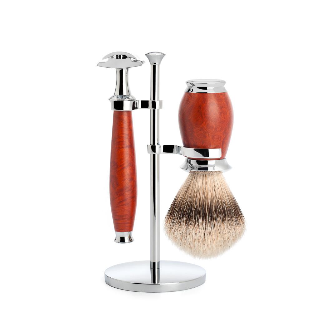 Image of   Mühle Barbersæt med DE-skraber, Silvertip Barberkost og Holder, Purist, Briar træ